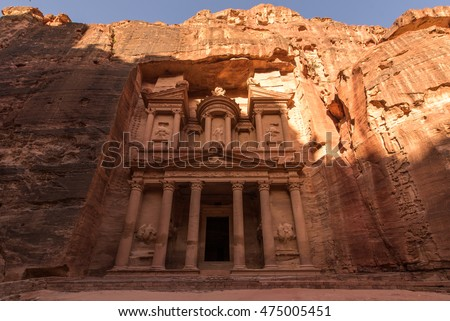 The treasury of Petra, one of seven wonders of the world, Jordan