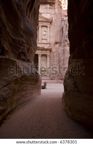 The Treasury viewed through canyon Petra Jordan