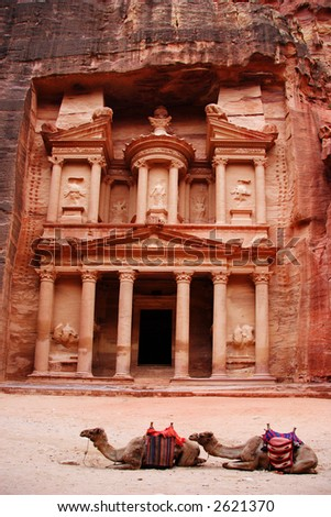 The Treasury with two camels in front, Petra, Jordan - stock photo