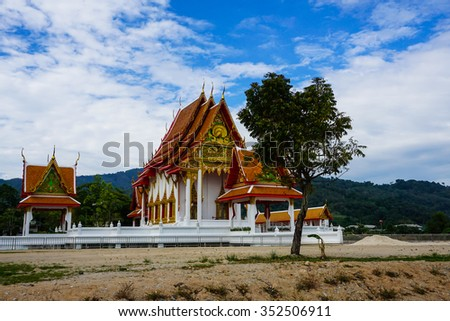 The tree in the Buddhist temple complex in Thailand - stock photo