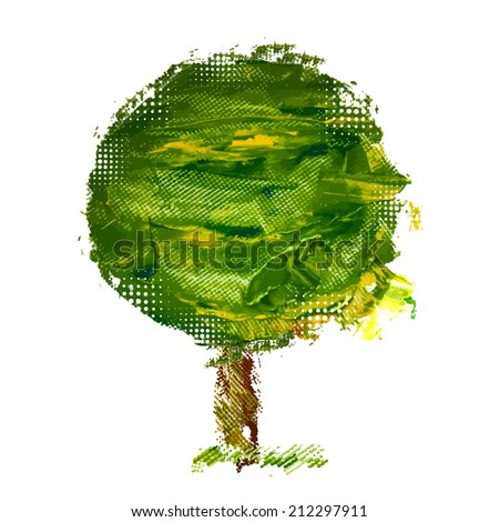 The tree is green paints abstract. Raster - stock photo