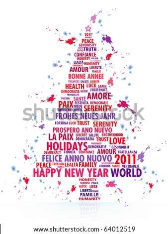 The tree painted with the magic words of the New Year 2011 - stock photo