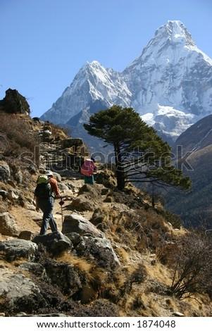 The Trek to Base Camp, Everest Region, Nepal - stock photo