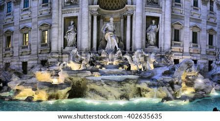 The Trevi Fountain (Italian: Fontana di Trevi) in Rome, Italy - stock photo