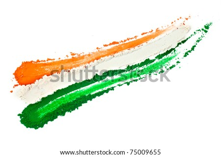 The tricolor of the Indian national flag painted with dye powder and isolated on white. - stock photo