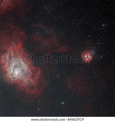 The Trifid, Lagoon and M21 Star Cluster