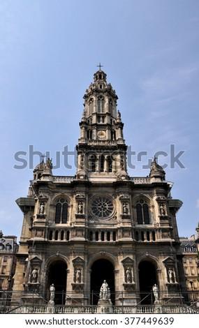 The Trinity Church (Eglise de la Sainte-Trinite) in Paris, France. - stock photo