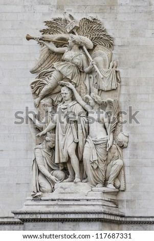 The Triumph of 1810 (Cortot) - Sculptural group at the base of Arc de Triomphe de l'Etoile. Arc was built by architect Jean Shalgrenom by order of Napoleon to commemorate victories of his Army. - stock photo