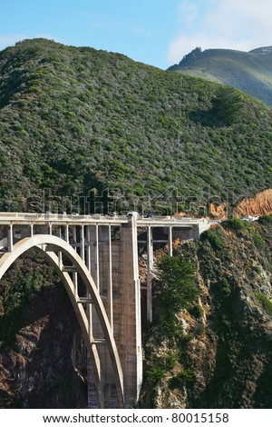 The triumph of engineering. The magnificent bridge on the coastal highway Pacific Coast - stock photo