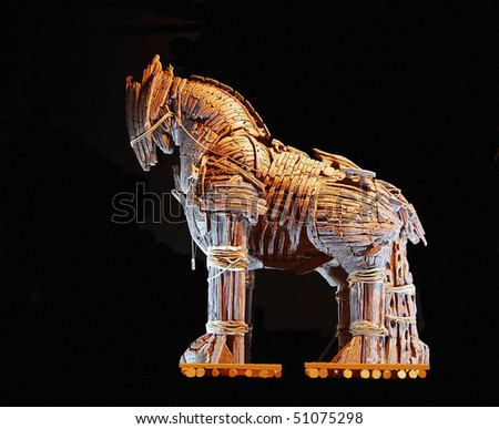 The Trojan Horse of Canakkale on Black - stock photo