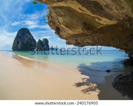 The tropical beach of Railay beach thailand - stock photo