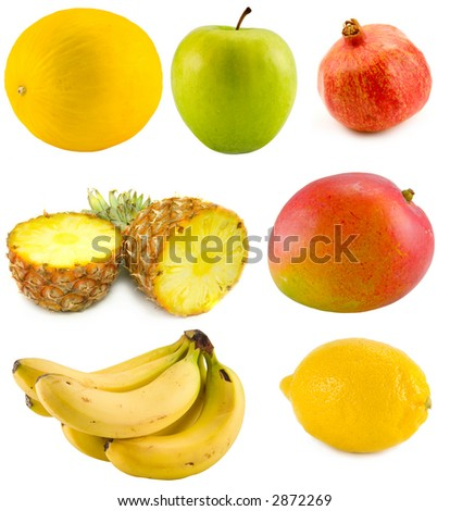 the tropical fruits collection isolated on white background - stock photo