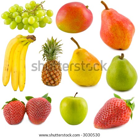 the tropical fruits collection isolated on white background
