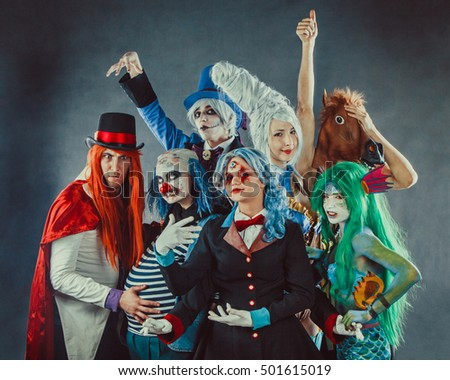 The troupe of mad circus actors.