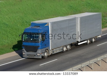 The truck on a road