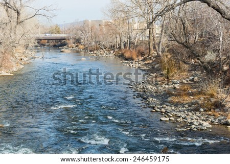 The Truckee River through downtown Reno, Nevada - stock photo