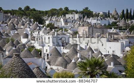 The trulli town Alberobello, Apulia - Italy. A trullo is a traditional Apulian stone dwelling with a conical roof. The style of construction is specific to Itria Valley - region of Apulia.