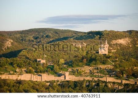 The Tsaravets hill in Veliko Tarnovo in the evening - stock photo