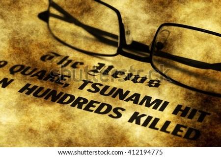 The tsunami news grunge concept - stock photo