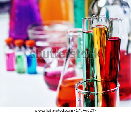 The tubes in the laboratory, soft focus  - stock photo