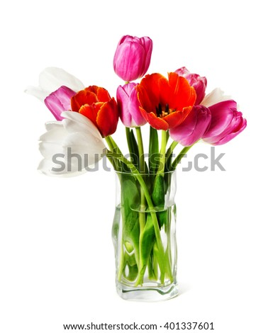 The tulips in a vase are isolated on a white background