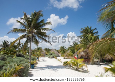 The Tulum beach with bungalow in Mexico