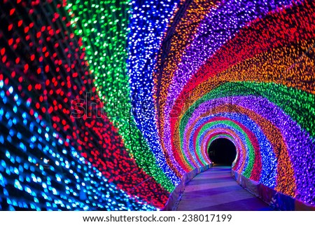 The tunnel of rainbow LED light - stock photo