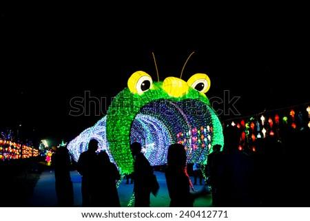 The tunnel of rainbow LED light - stock photo