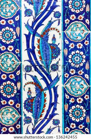 the Turkish ceramic tiles from Rustem Pasha Mosque, Istanbul - stock photo