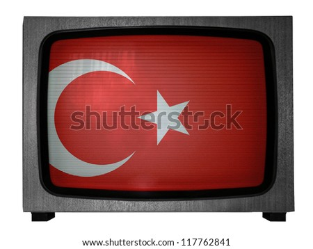 The Turkish flag painted on  old TV - stock photo