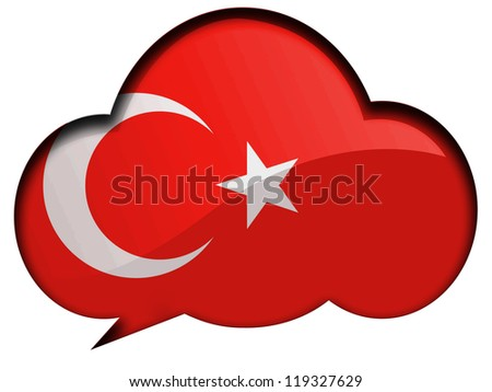 The Turkish flag painted on  speaking or thinking bubble