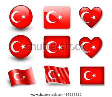 The Turkish flag - set of icons and flags. glossy and matte on a white background. - stock photo
