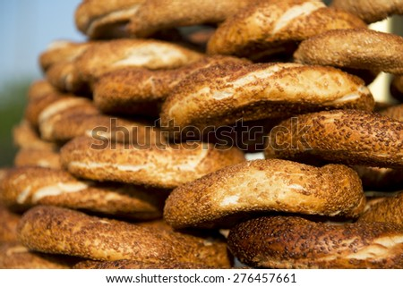 the turkish traditional food name is Simit - stock photo