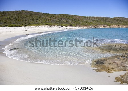 The turquoise water beach in north of Corsica. - stock photo