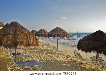 The turquoise waters and white sand beaches of Cancun on the Yucatan Peninsula in Quintana Roo Mexico - stock photo