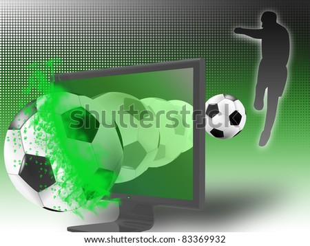 The TV monitor is broken by the soccer ball from the game broadcast. concept of 3D television - stock photo