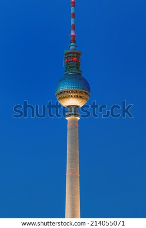 The TV Tower in Berlin illuminated at dawn - stock photo