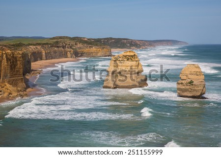 The Twelve Apostles, a collection of limestone stacks by the Great Ocean Road in Victoria, Australia. - stock photo