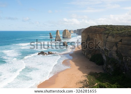 The Twelve Apostles, adjacent to the Great Ocean Road, Port Campbell National Park, Victoria, Australia - stock photo