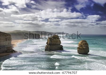 The Twelve Apostles at the Great Ocean Road, Victoria, Australia - stock photo