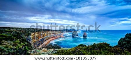 The Twelve Apostles, Great Ocean Road, Victoria - HDR image - stock photo