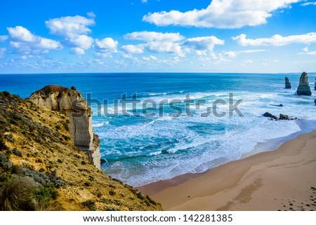 The twelve apostles in Great Ocean Road Australia - stock photo