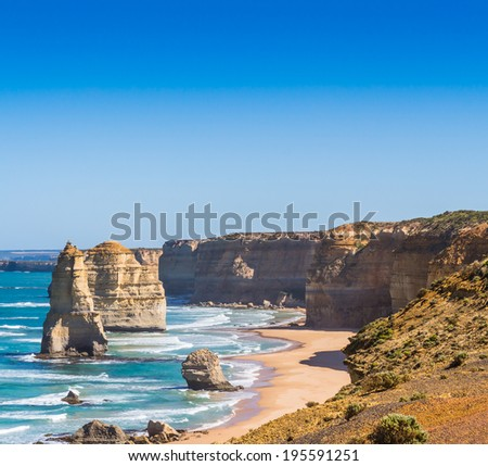 The twelve apostles with blue sky on the great ocean road in Victoria Australia - stock photo
