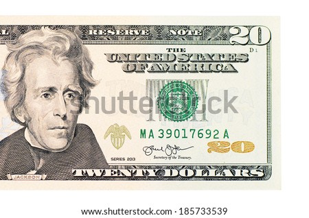 The twenty dollars isolated on white background - stock photo