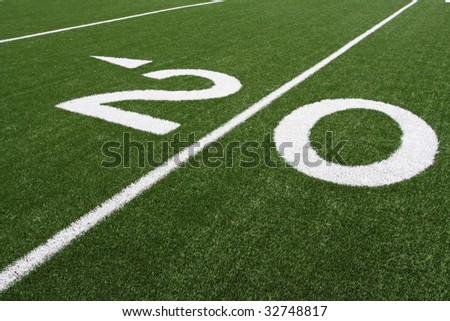 The Twenty Yard Line on fresh turf - stock photo