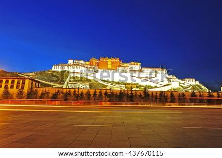 The twilight of the potala palace - stock photo
