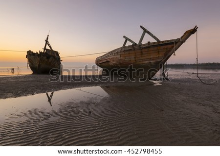 The twin shipwreck of fish boat in Borneo