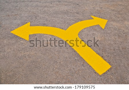 The Twin yellow arrow on the road