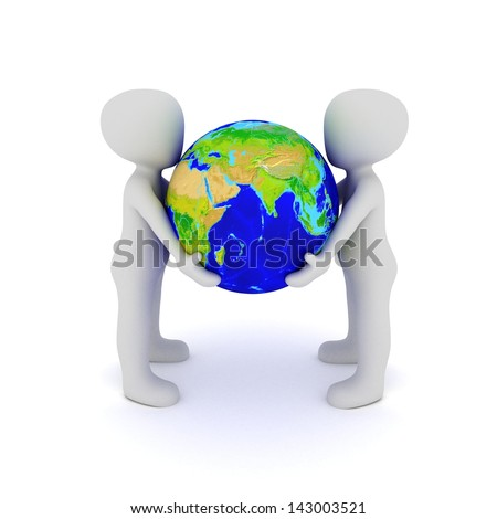 The two characters holding the globe of our earth in their hands.