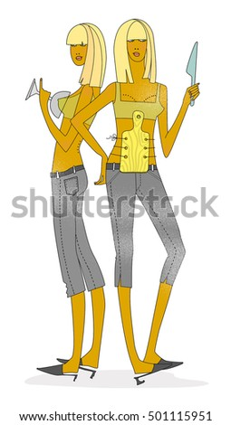 The two girl with carving board and knife on white background